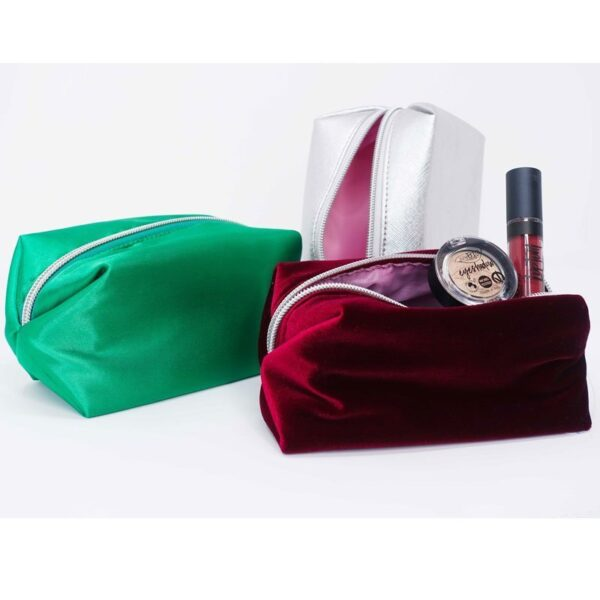 Purobio cosmetics τσαντάκια καλλυντικών ασημί, πράσινο, μπορντώ