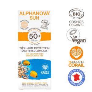 Βιολογική υποαλλεργική αντηλιακή κρέμα προσώπου SPF 50+ με χρώμα - 50g