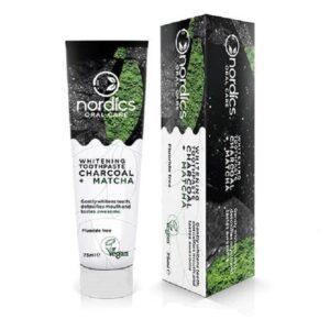 Nordics Whitening Toothpaste Charcoal + Matcha Φυσική οδοντόκρεμα λεύκανσης με ενεργό Άνθρακα και Matcha